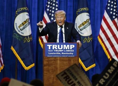 Republican presidential candidate Donald Trump speaks during a rally Tuesday, March 1, 2016, in Louisville, Ky. (AP Photo)