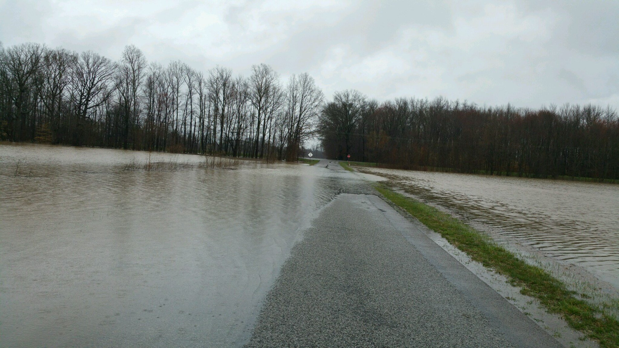 This photo shows flooding on Elm Grove Road in Calloway County, Kentucky, on Thursday, March 10, 2016.