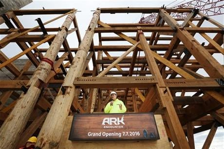 Ken Ham, co-founder and president of Answers in Genesis, the group that is building Ark Encounter, addresses the media during a press conference on Thursday morning, Nov. 12, 2015, in Williamstown, Ky. (The Courier-Journal via AP)