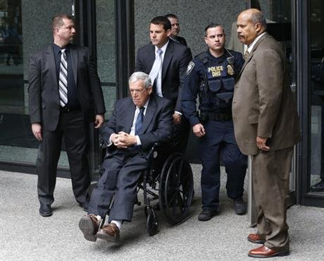 Former House Speaker Dennis Hastert departs the federal courthouse Wednesday, April 27, 2016, in Chicago, after his sentencing on federal banking charges which he pled guilty to last year. (AP Photo(
