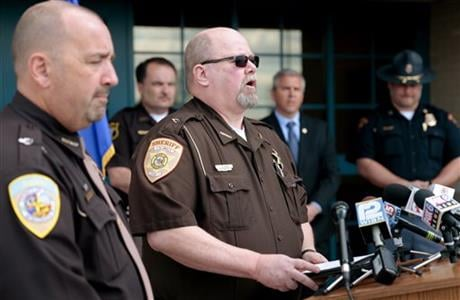 Columbia County Sheriff Dennis Richards speaks during a press conference at the Wisconsin State Patrol's DeForest Post in DeForest, Wis., Monday, May 2, 2016. (Wisconsin State Journal via AP)