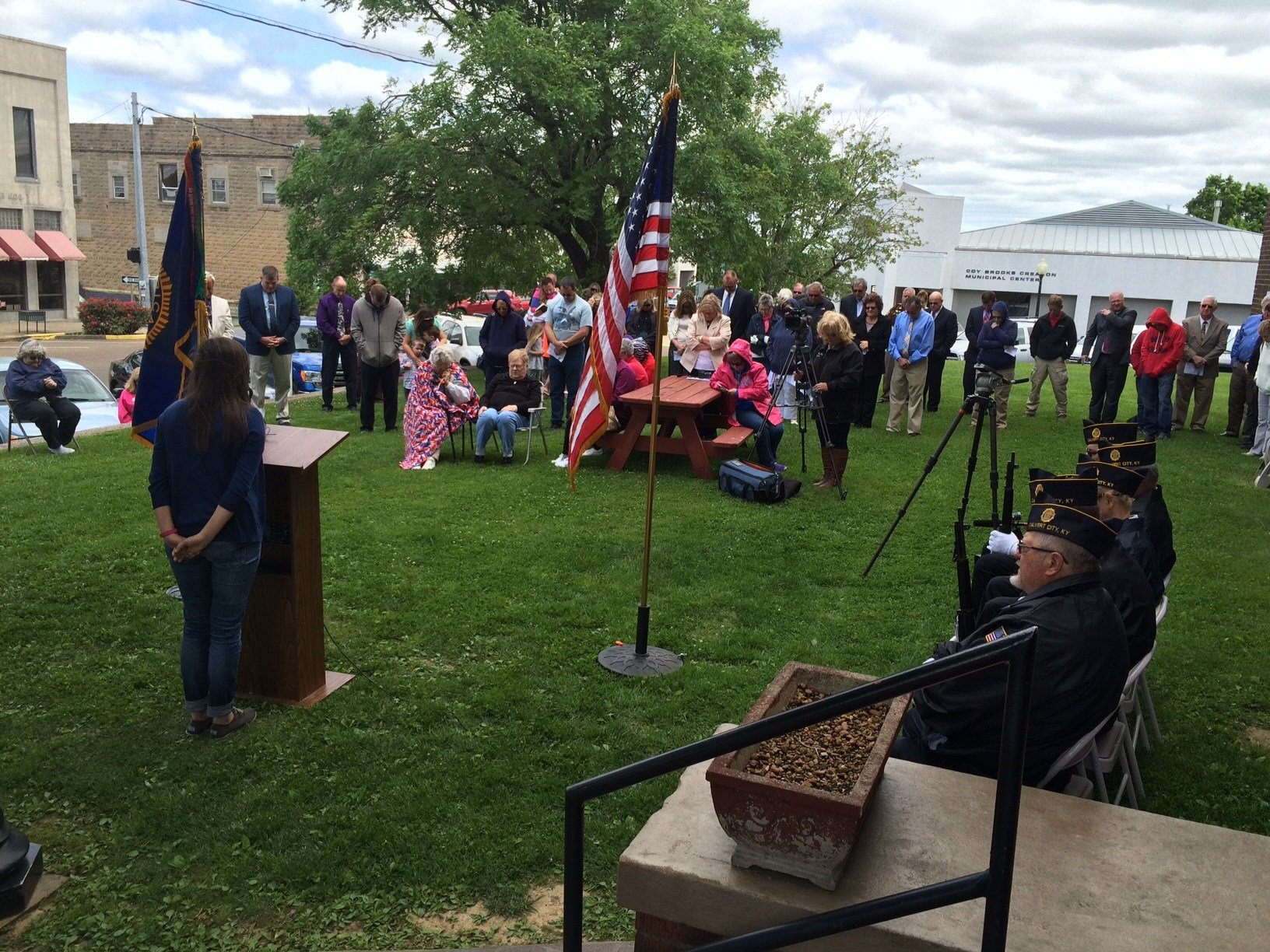 People observe the National Day of Prayer at a service in Marshall County.