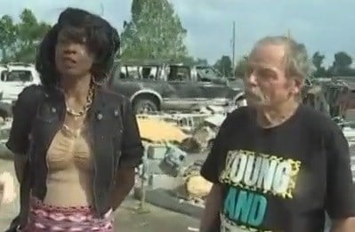 Mary Powell and Alan McCartney share their experience after a tornado passed them on the road near Mayfield.