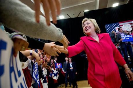 Democratic pr\esidential candidate Hillary Clinton, center, arrives to speak at a get out the vote event at Transylvania University in Lexington, Ky., Monday, May 16, 2016. (AP Photo)