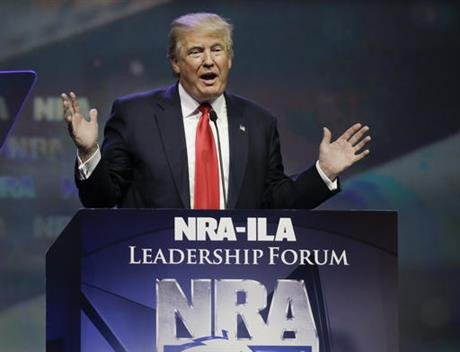 Republican presidential candidate Donald Trump speaks at the National Rifle Association convention, Friday, May 20, 2016, in Louisville, Ky. (AP Photo)