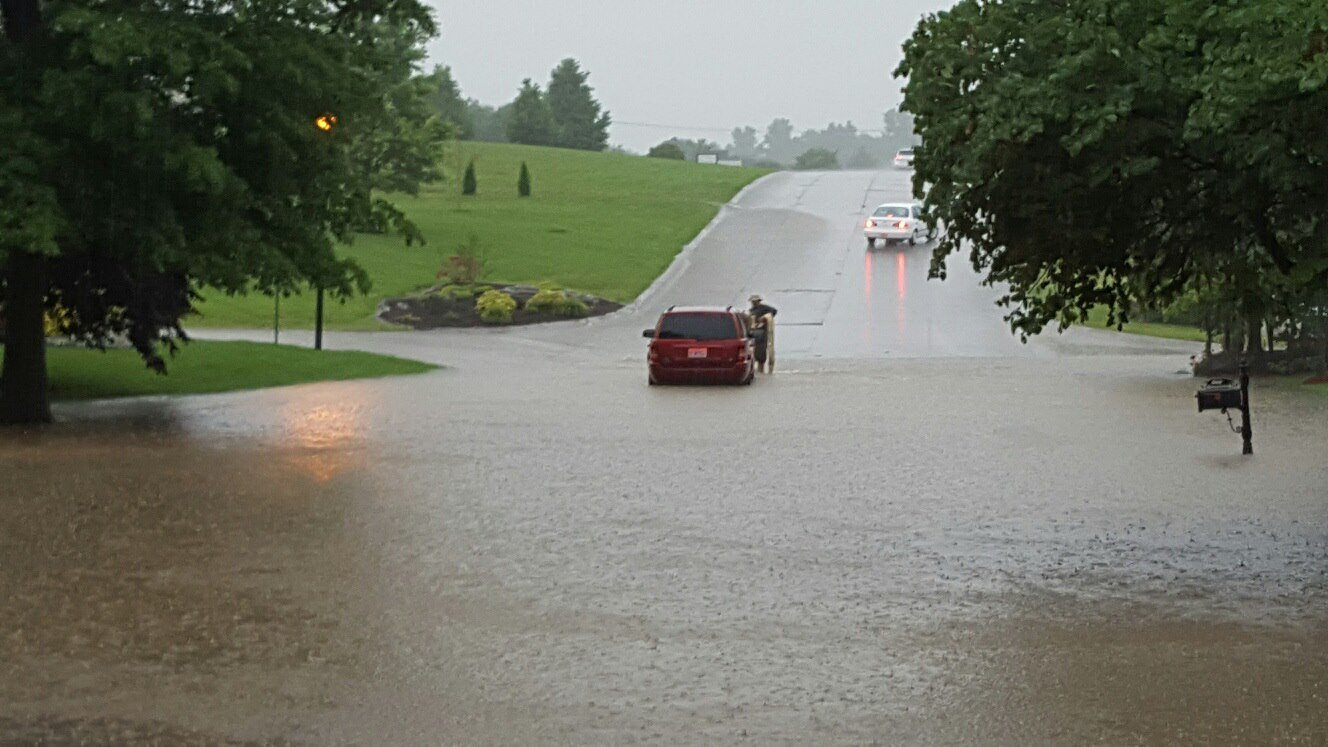 Heavy rains flooded roads in Cape Girardeau, Missouri, Thursday, May 26, 2016.