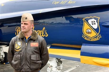 This May 19, 2016, photo shows Marine Capt. Jeff Kuss at an air show in Lynchburg, Va. (The Register & Bee via AP)