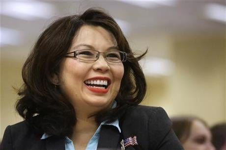 In this Aug. 13, 2014, file photo, U.S. Rep. Tammy Duckworth, D-Ill., appears in Springfield, Ill.