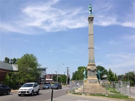 In this Tuesday, May 24, 2016 photo, a stone monument to Confederate soldiers killed in the Civil War sits near the University of Louisville in Louisville, Ky. (AP photo)