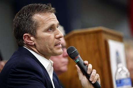 In this Nov. 3, 2015, file photo, Missouri Republican gubernatorial candidate, former Navy SEAL Eric Greitens, speaks during a forum in Jefferson City, Mo. (AP photo)