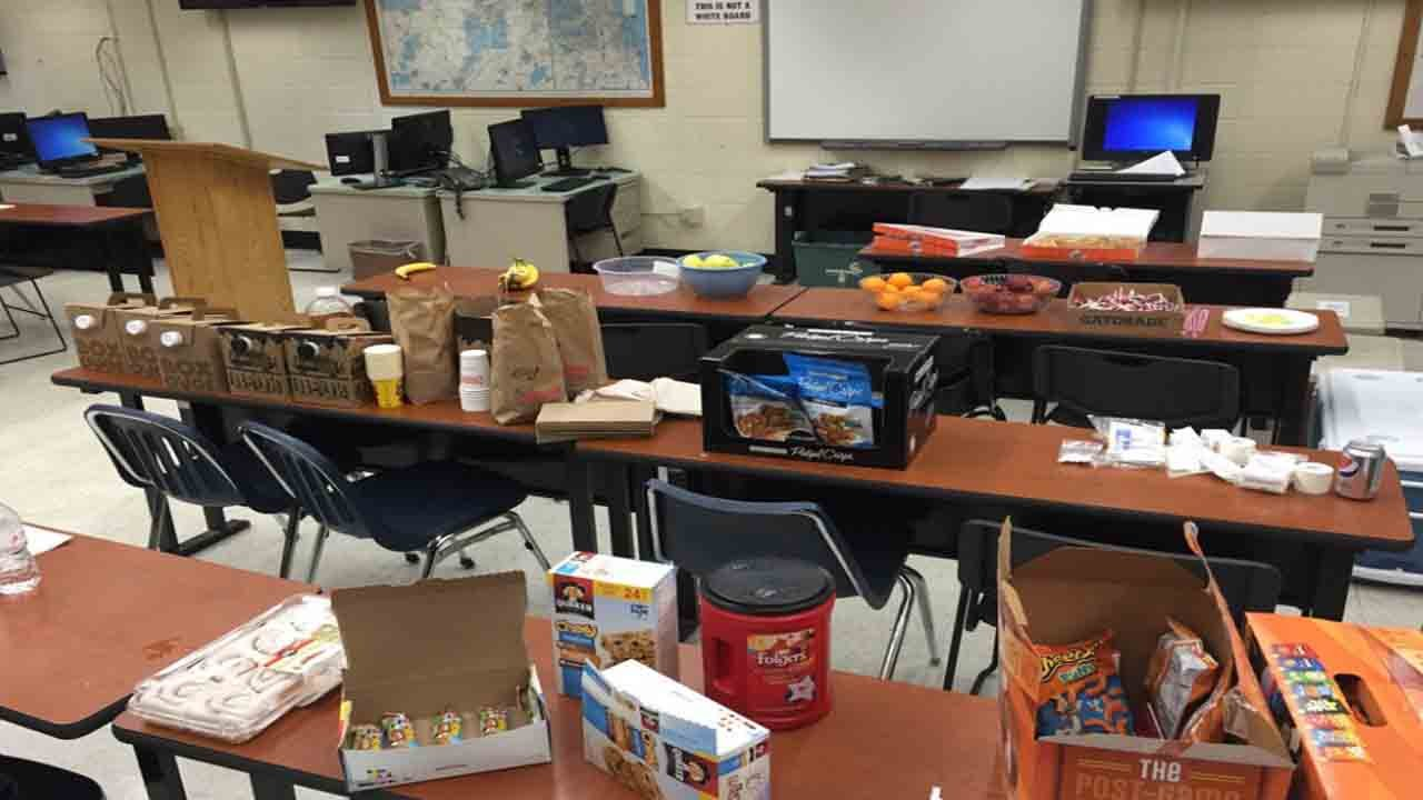 Food, coffee brough to police as a thank you from the community.From. Milwaukee PD Twitter