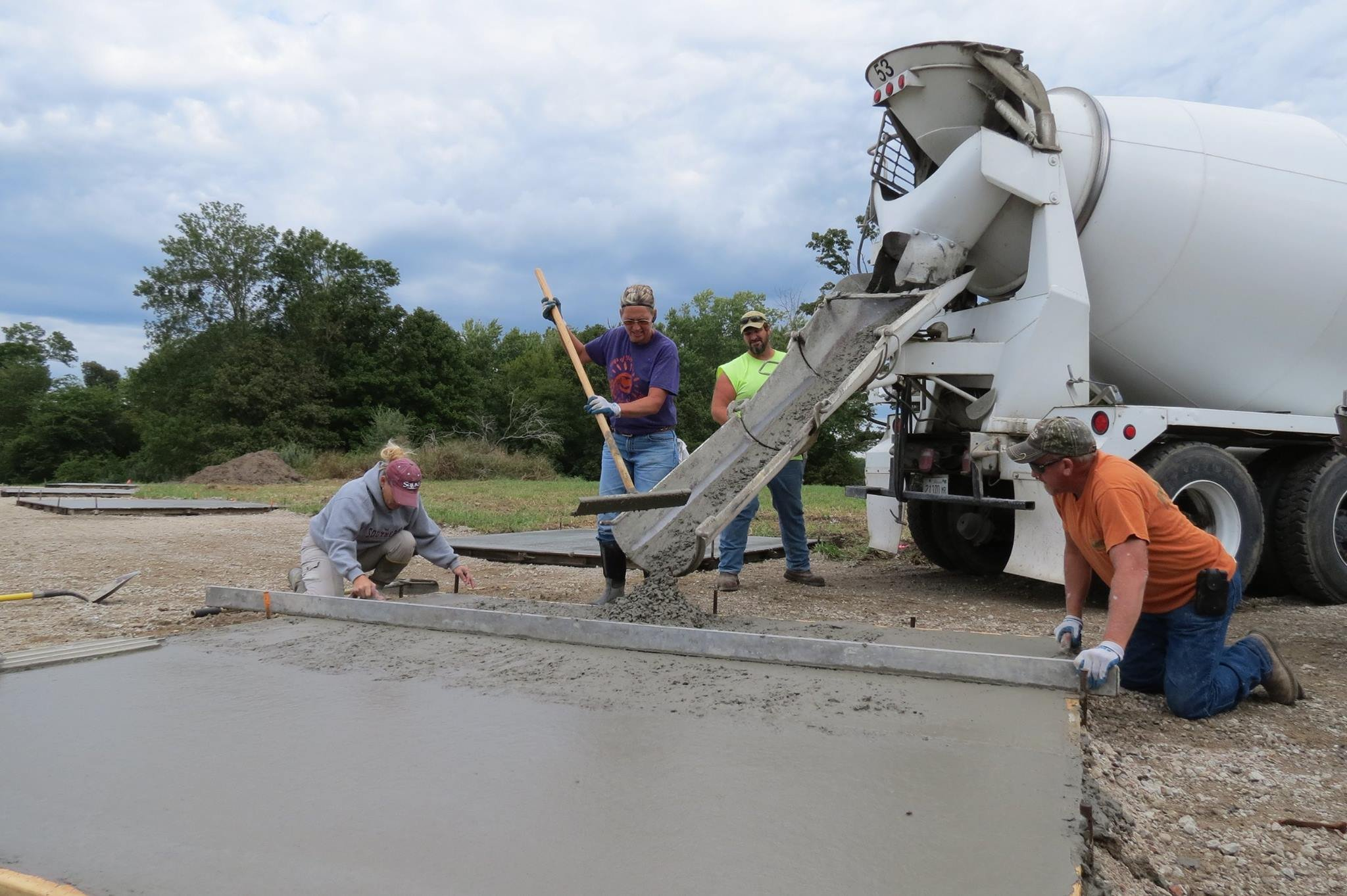 A crew poured concrete pads for research of next year's total solar eclipse by SIU. (Photo courtesy Bob Baer)