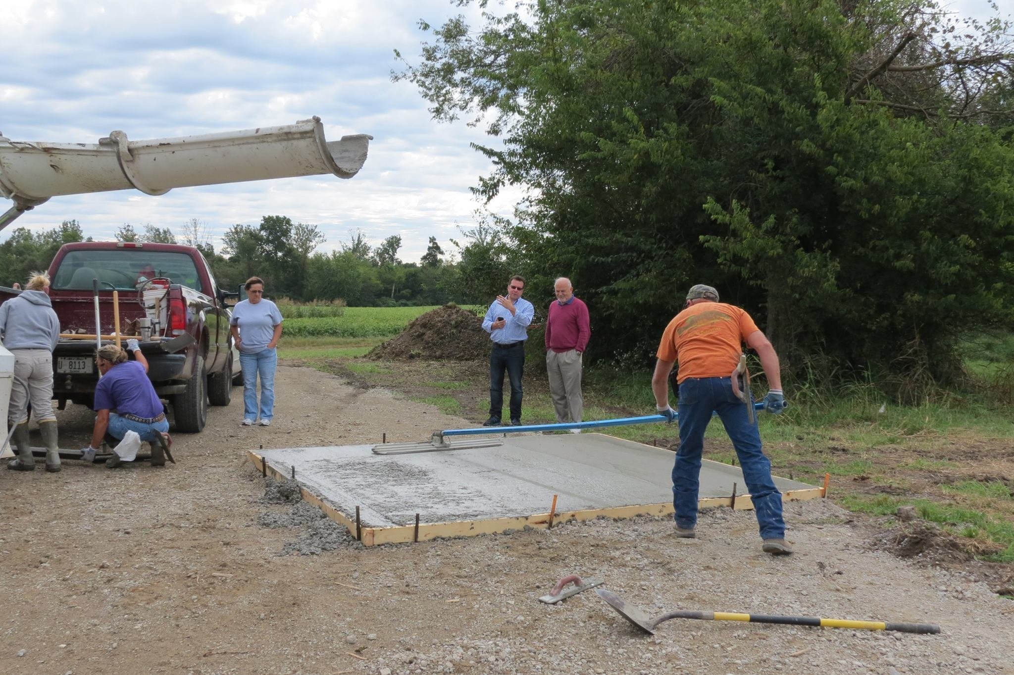 Concrete pads poured last week will be used for stargazing and other astronomical observation until the eclipse next year. (Photo courtesy Bob Baer)