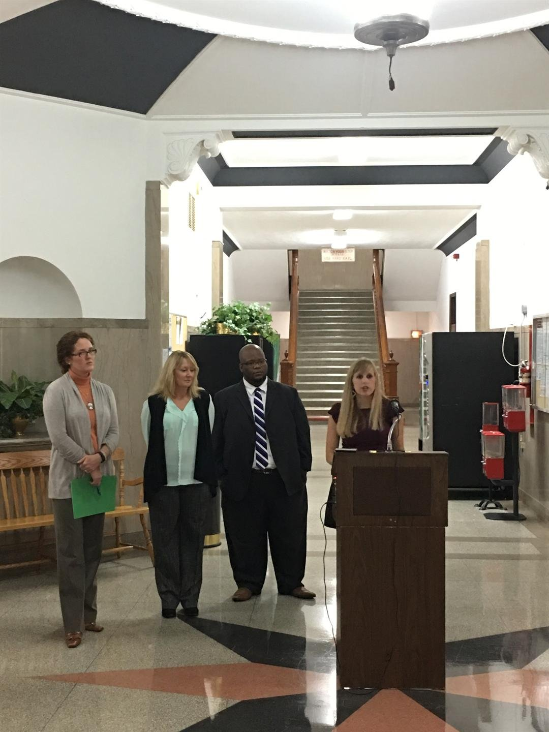 Director of Victim Assistance Tiffany Mills speaks on domestic violence as October is proclaimed Domestic Violence Awareness Month in McCracken County.