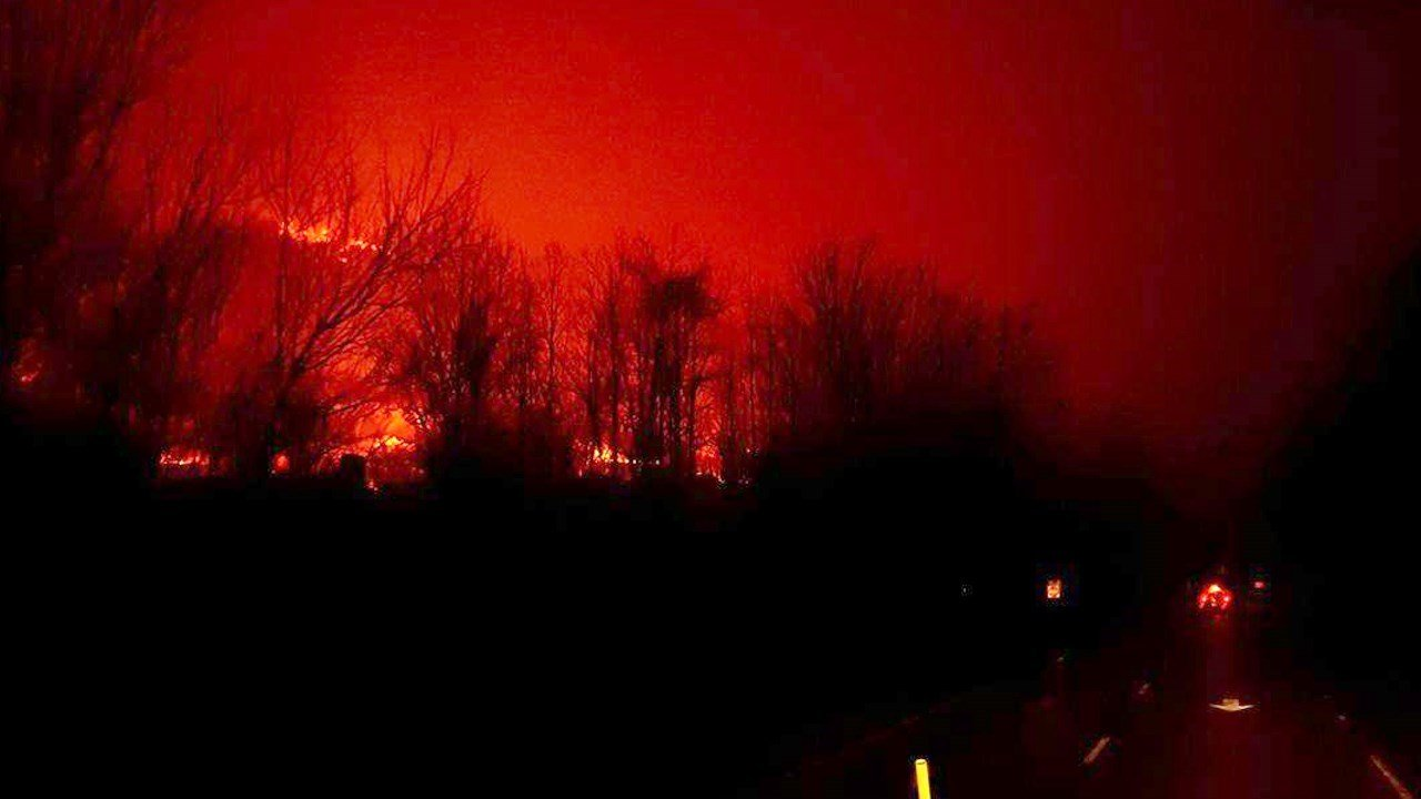 This Nov. 29 photo shows the fire in Gatlinburg near the Great Smoky Mountains National Park in Tennessee.