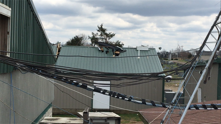Parts of the detention center's roof were torn apart by the tornado.