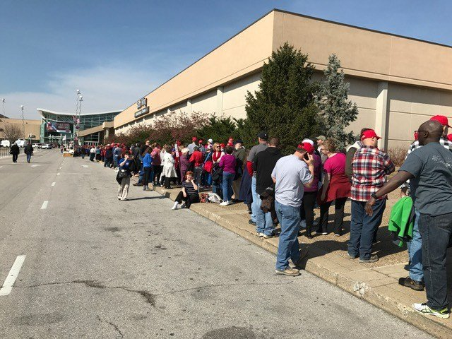 Supporters line up outside Freedom Hall in Louisville before President Donald Trump arrives for a campaign-style rally on Monday, March 20, 2017.