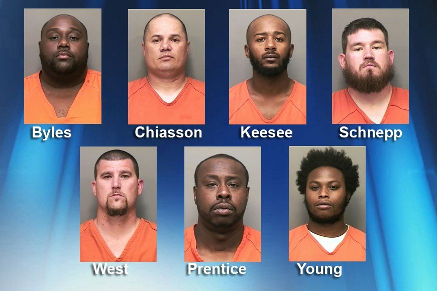 Seven bounty hunters in Tennessee have been charged with murder. (Photos via the Montgomery County, Tennessee, Sheriff's Office).