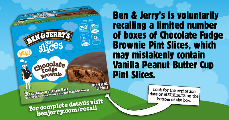 Ben & Jerry's issues recall for possible peanuts in Chocolate Fudge Brownie