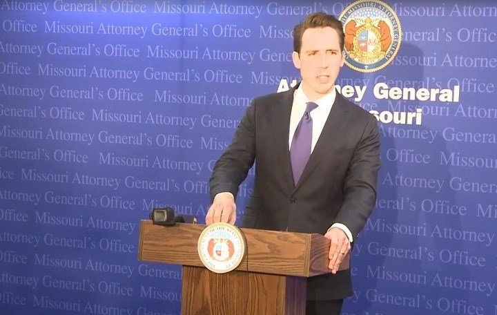 This photo shows Missouri Attorney General Josh Hawley during a news conference on Thursday, May 5, 2017. Hawley addressed the criminal case against Cory Hutcheson.