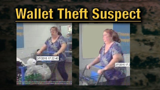 Paducah Police say the southside Walmart surveillance system captured this woman stealing a wallet from an elderly woman.