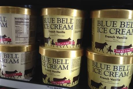 (AP) April 10, 2015, file photo of Blue Bell ice cream on a Kansas grocery shelf.