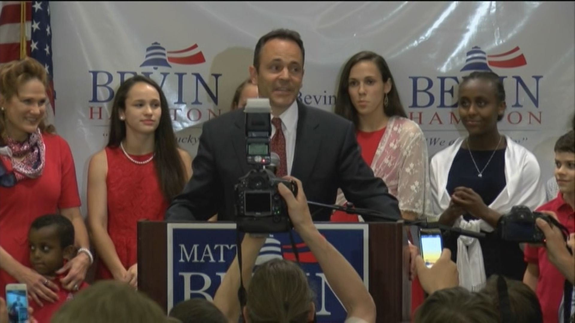Matt Bevin addresses supporters the night of the 2015 Kentucky GOP gubernatorial primary.