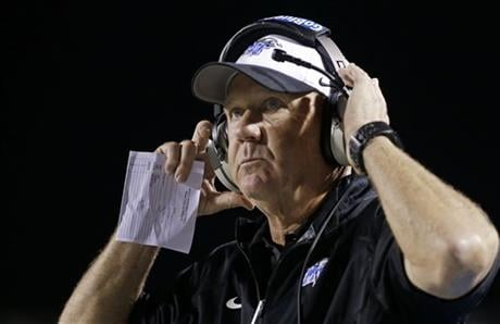In this Sept. 13, 2014, file photo, Middle Tennessee head coach Rick Stockstill watches from the sideline during the fourth quarter in an NCAA college football game against Western Kentucky in Murfreesboro, Tenn. (AP photo)