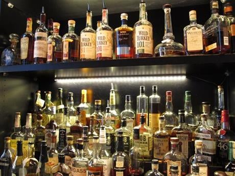 This Sept. 5, 2014 file photo shows Sidebar at Whiskey Row, a bar that offers more than 100 bourbons, in the heart of downtown Louisville, Ky. (AP photo)