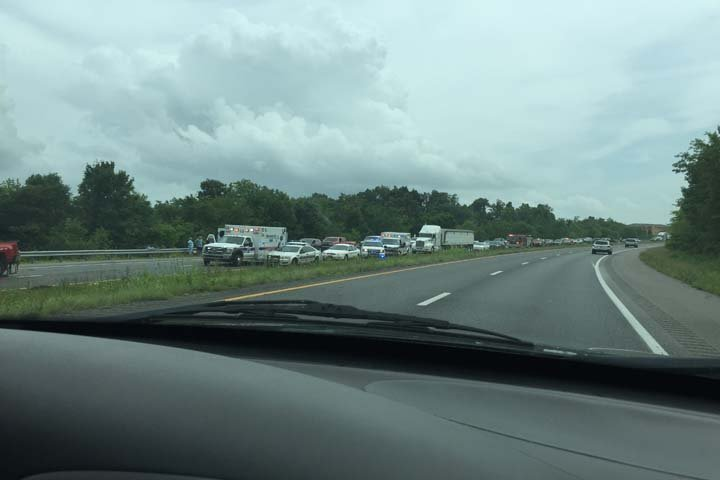 Traffic approaching the site of a fatal wreck on the Purchas Parkway Wednesday afternoon in Marshall County. (Submitted photo)