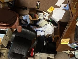 The chaos found in the office of Spence Chapel United Methodist Church, which had been vandalized.