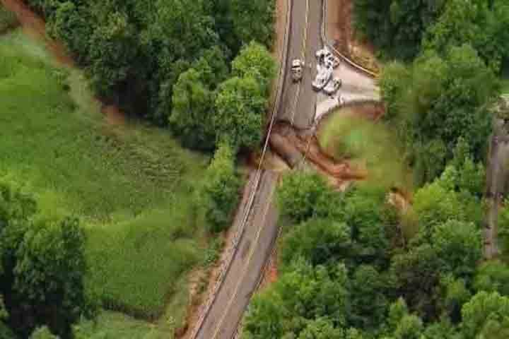 This section of Blackhawk Road in Caldwell County has been closed since late July because of a washout. It reopened Sept. 25 after temporary repairs were made.