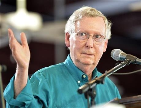 In this Aug. 1, 2015, file photo, Senate Majority Leader Mitch McConnell, R-Ky., speaks to the attendees at the Fancy Farm Picnic in Fancy Farm, Ky. (AP photo)