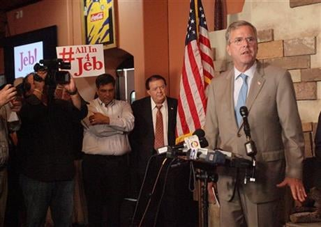 Republican presidential candidate, former Florida Gov. Jeb Bush answers questions during a news conference, Monday Aug. 24. 2015, at Palenque Grill Restaurant in McAllen,Texas. (The Monitor via AP)