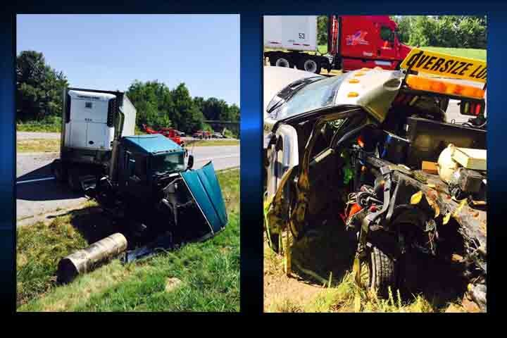 These images are from a wreck on the Purchase Parkway in Graves County Monday involving a semi and an escort vehicle.