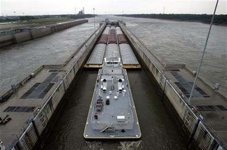 In this Aug. 21, 2008, file photo, a barge hauling grain passes through the Melvin Price Locks and Dam in Alton, Ill. (AP photo)