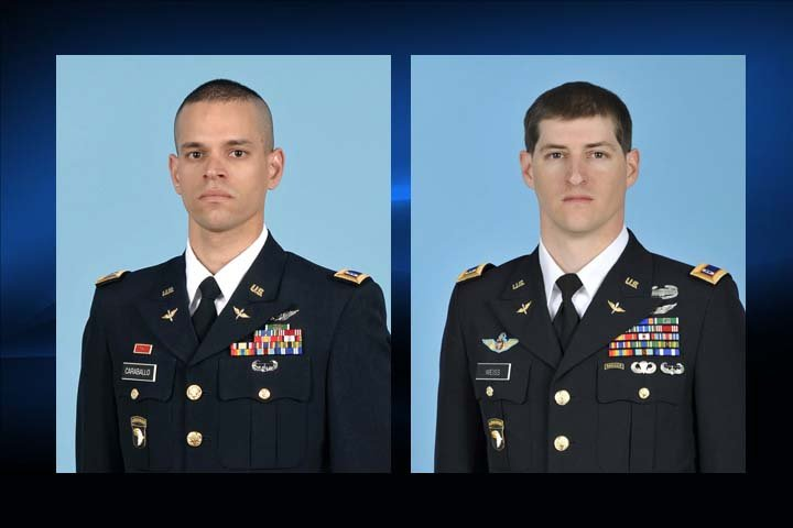 Alex Caraballoleon, left, and Kevin Weiss, right were killed in a helicopter crash near Fort Campbell.