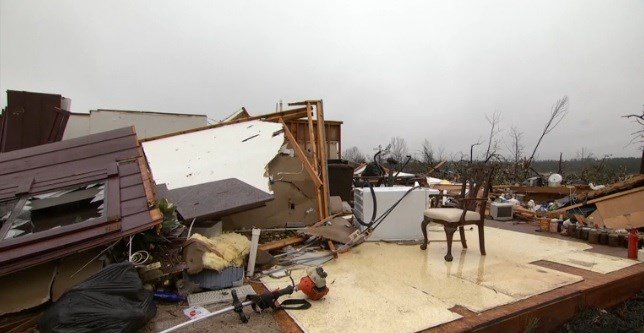 Damage from the tornado that hit Holly Springs, MS.