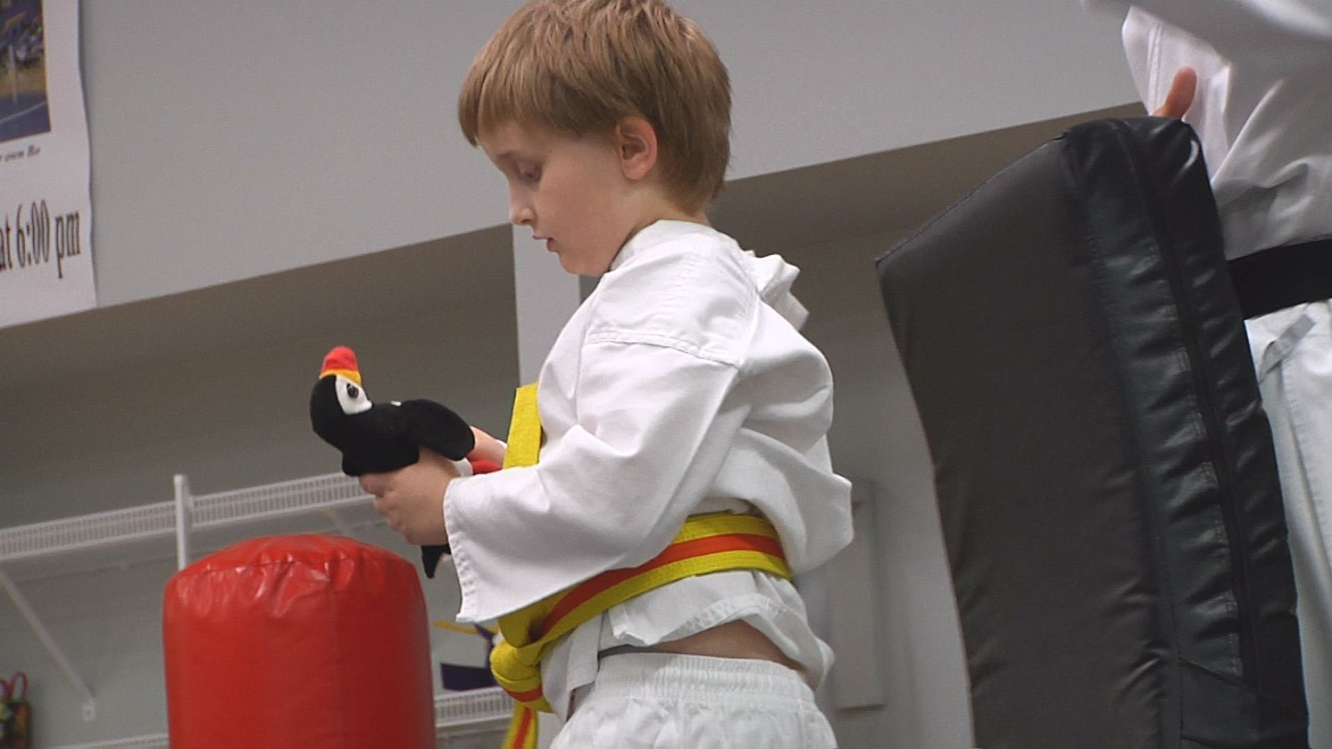 One student brings his stuffed penguin to class.