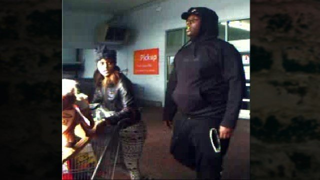 The man and woman pictured are suspected of stealing merchandise from the Marion, IL Walmart on November 25, 2015.