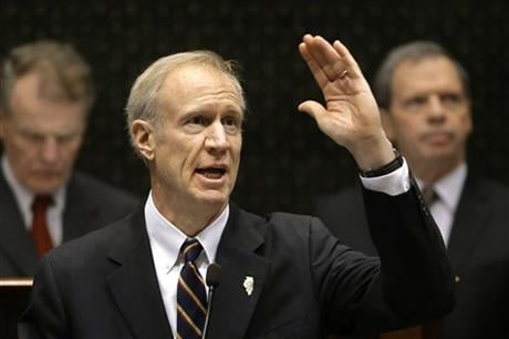 Illinois Gov. Bruce Rauner delivers his State of the State address to a joint session of the General Assembly in the House chambers at the Illinois State Capitol Wednesday, Jan. 27, 2016, in Springfield, Ill. (AP Photo)