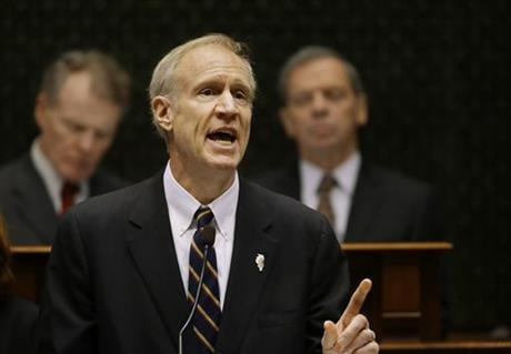 Illinois Gov. Bruce Rauner delivers his State of the State address to a joint session of the General Assembly in the House chambers at the State Capitol on Wednesday, Jan. 27, 2016, in Springfield, Ill. (AP Photo)
