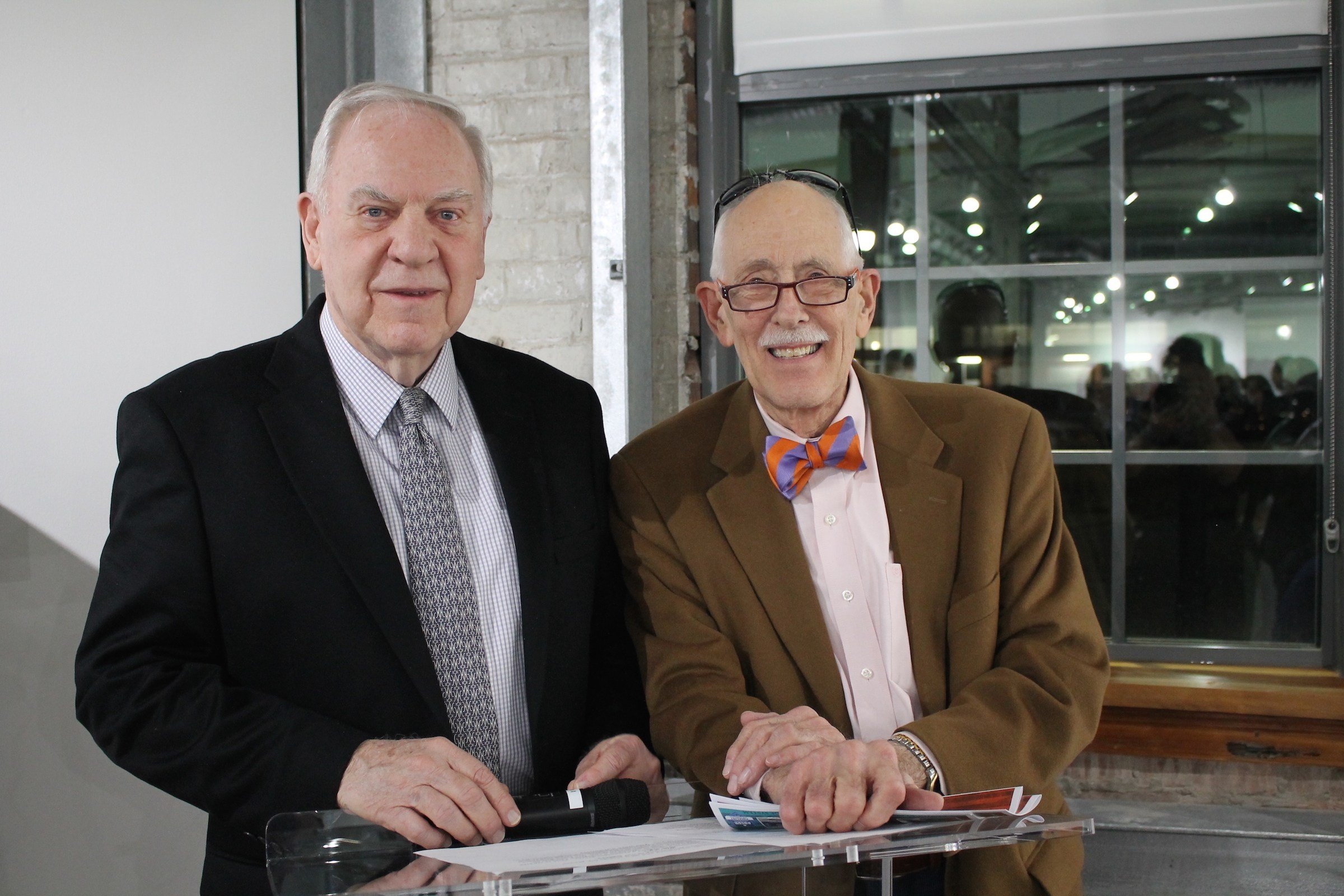 Judge J. William Howerton and Bill Ford pose for a photo during reception for donors of PSAD's new 2D and Graphic Design Building.
