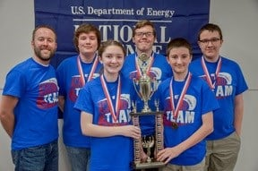 First place Calloway Middle School: Coach Scott Pile, Marshall Hays, Sophia Bogard, Andrew Hardt, Isaac Anderson, and Jay Turner.