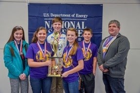 Second Place Lone Oak Middle School: Shelby Puryear, Ella McBee, Jake Mitchell, Katie Caruthers, Isaiah Frederich, Coach Daniel Rushing.