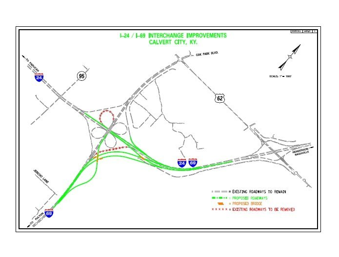 This is KYTC's graphic overview of the planned Interstate 69 upgrades to the I-24/Purchase Parkway Interchange at Calvert City .