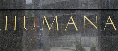 This Aug. 8, 2011 file photo shows the entrance to the Humana building in Louisville, Ky. (AP photo)