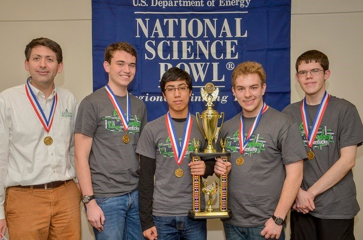 First Place Gatton Academy Team-1, from left: Derick B. Strode, Taylor Young, Rohan Deshpande, Seth Marksberry, Will Hornsby.