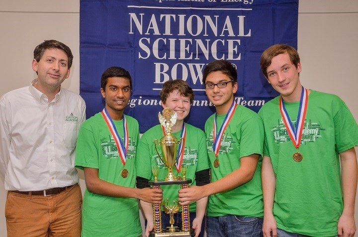 "Second Place Gatton Academy Team-2, from left:  Derick B. Strode, Ayush Prasad, Patricia Thompson, Sherafghan Khan, John ""Caleb"" Stickney."