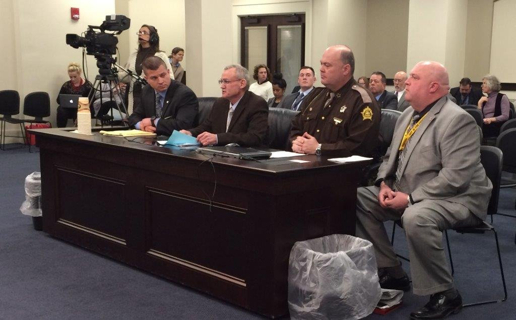 State Rep. Gerald Watkins, second from left, testifies before the House Judiciary Committee about his proposed bill to increase time served for some attempted murder convictions.